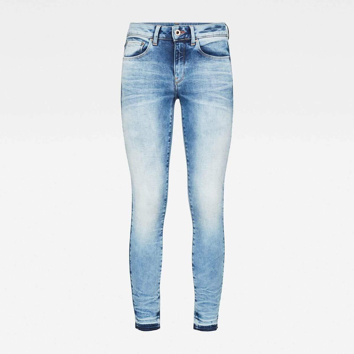 Light blue Woman Jeans 3301 Mid Skinny Ripped Edge Ankle Jeans G-Star WOMEN