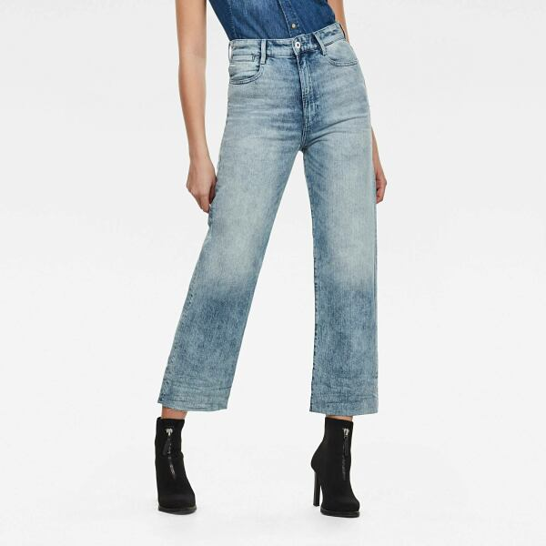 Light blue Woman Jeans Tedie Ultra High Straight Ripped Edge Ankle Jeans G-Star WOMEN