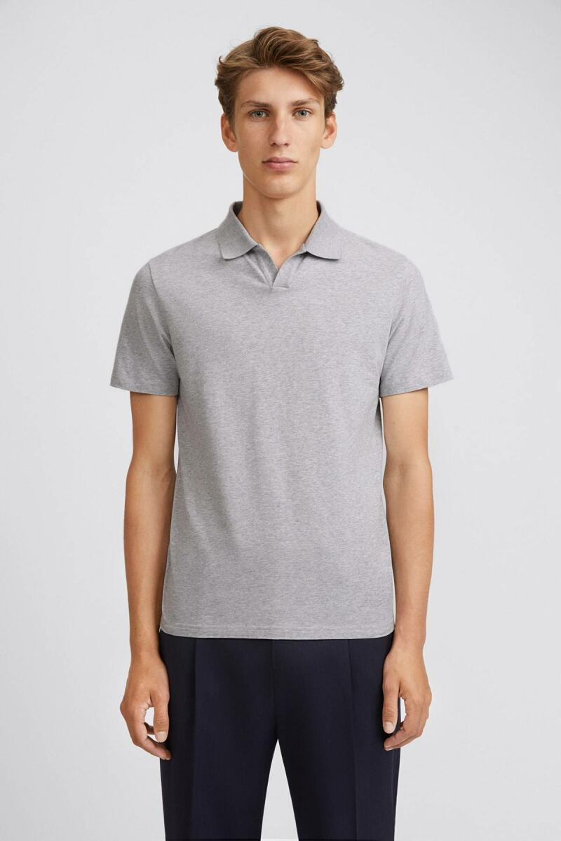 Lycra Polo Man T-Shirt Light Grey Melange MEN