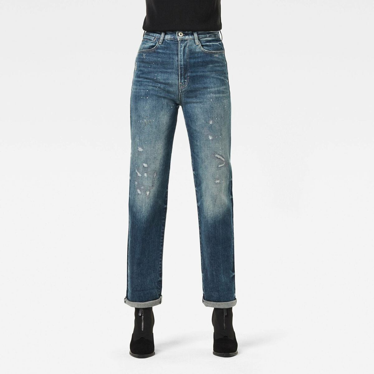 Medium blue Woman Jeans Tedie Ultra High Straight Turn Up Ankle Jeans G-Star WOMEN