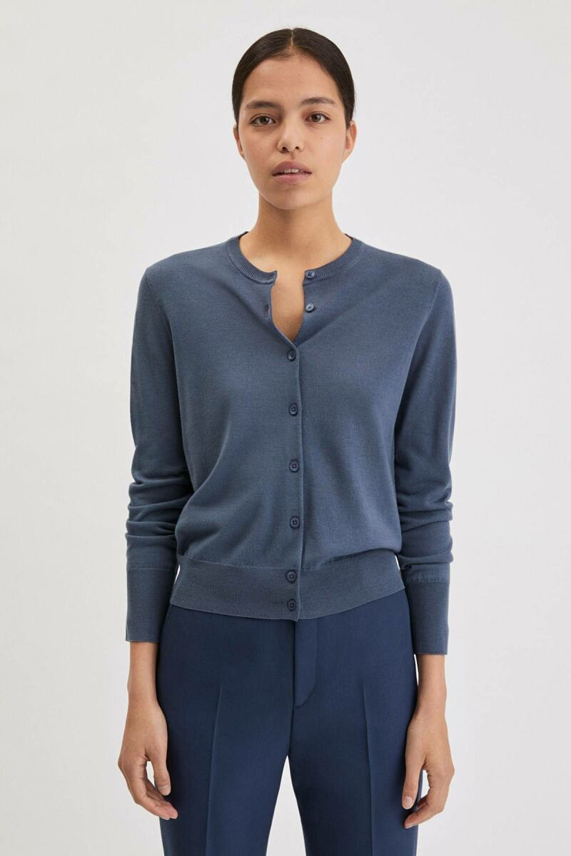 Merino Short Woman Cardigan Blue Grey WOMEN