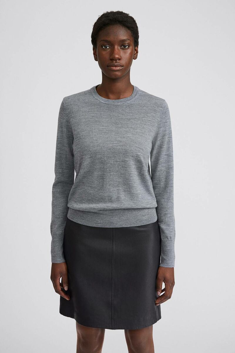 Mid Grey Melange Merino Women R-neck Sweater Filippa K NO WOMEN