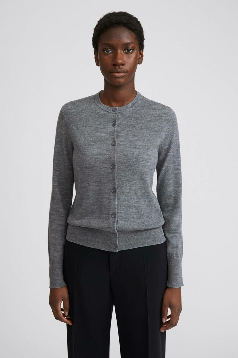 Mid Grey Melange Merino Women Short Cardigan Filippa K NO WOMEN