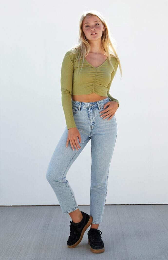 PS Basics by Pacsun Men Ava Cinched Front Top Green WOMEN
