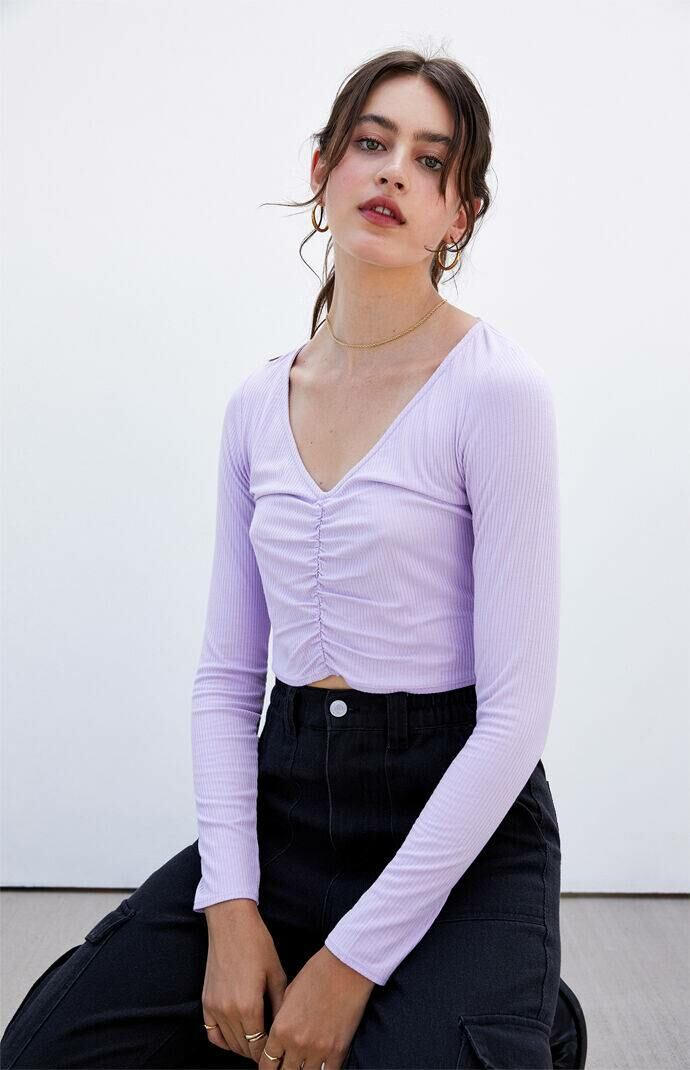 PS Basics by Pacsun Men Ava Cinched Front Top Purple WOMEN