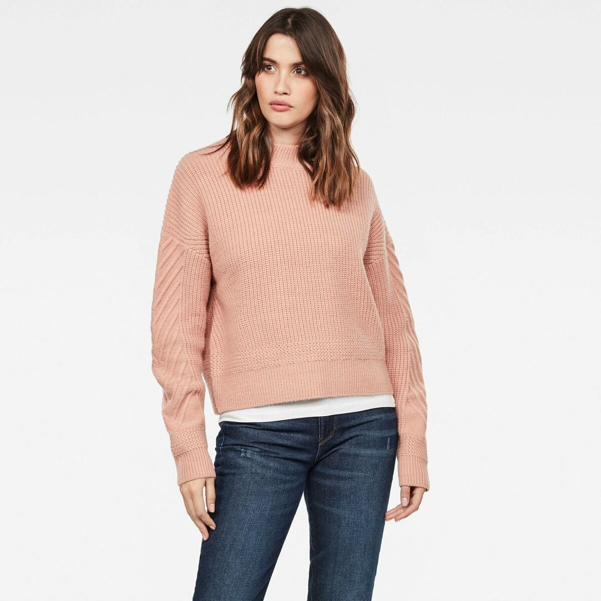 Pink Woman Knitwear Weet Turtleneck Knitted Sweater G-Star WOMEN