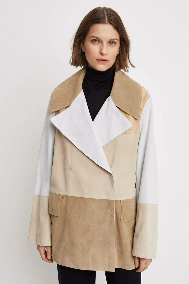 Suede Coat Woman Off-white Suede Mix WOMEN