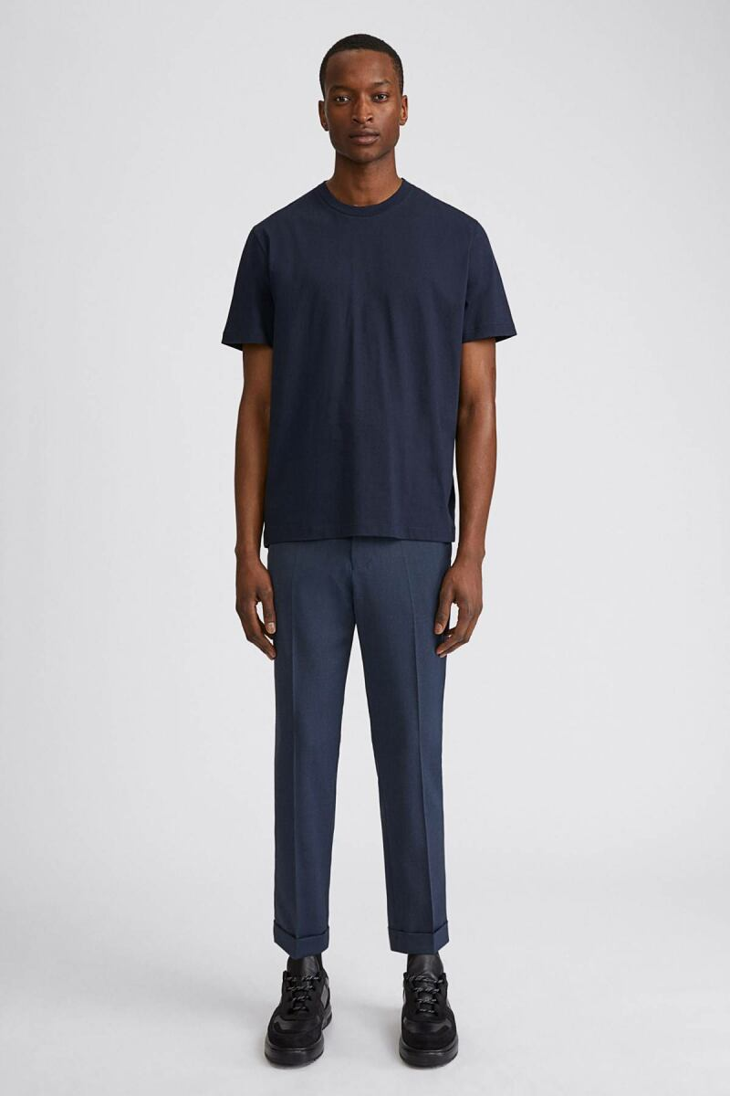 Terry Cropped Man Trouser Dark Blue Melange MEN