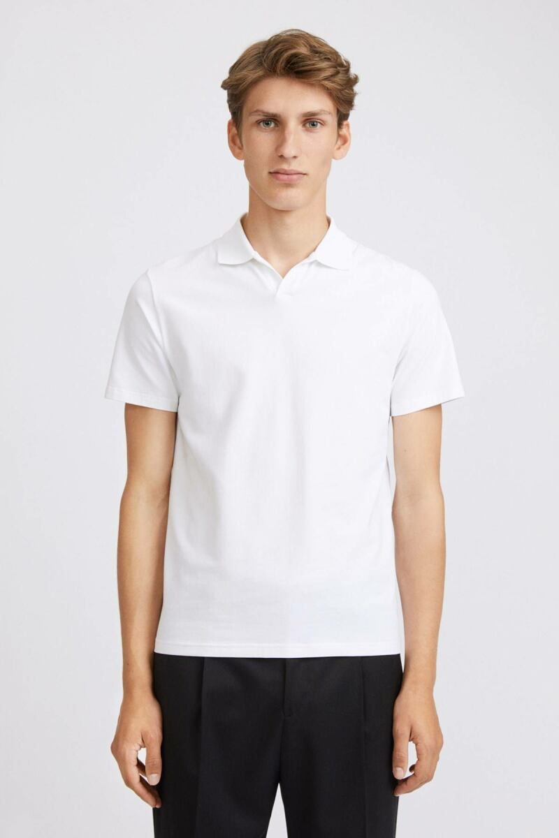 White Lycra Men Polo T-Shirt Filippa K NO MEN