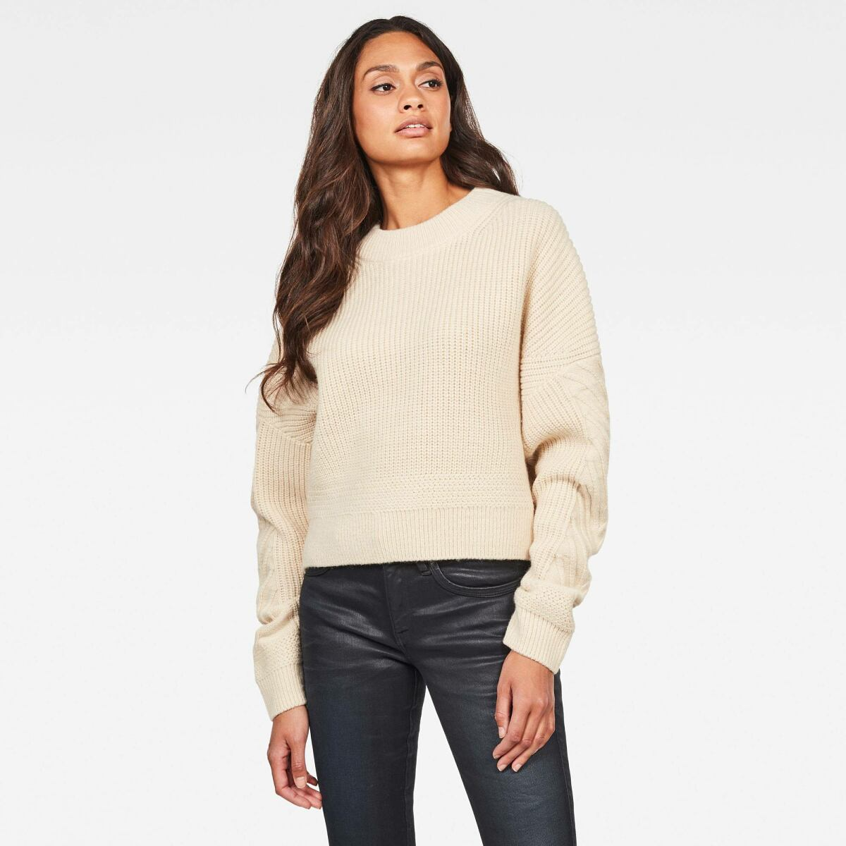 White Woman Knitwear Weet Turtleneck Knitted Sweater G-Star WOMEN