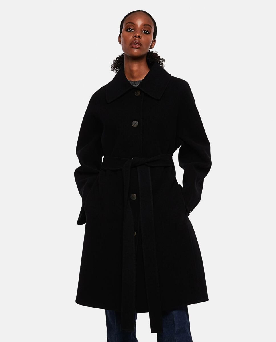 Black Oversized double-breasted coat in wool and cashmere Loewe at Biffi DE WOMEN
