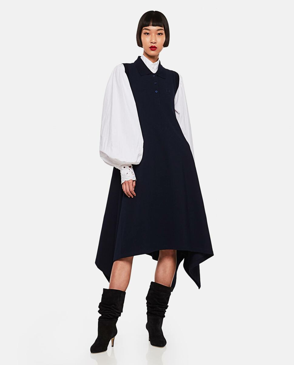 Blue Cotton midi dress with Anagram embroidered polo collar Loewe at Biffi DE WOMEN