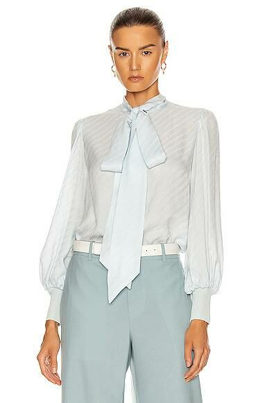 Givenchy Ribbed Tie Button Down Top Blue Women Forward AU WOMEN