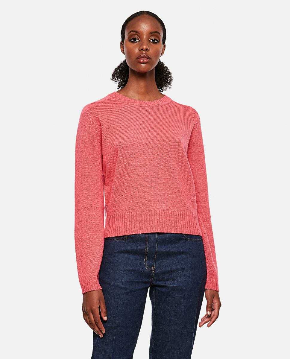 Pink Cashmere sweater with logo Gucci at Biffi DE WOMEN