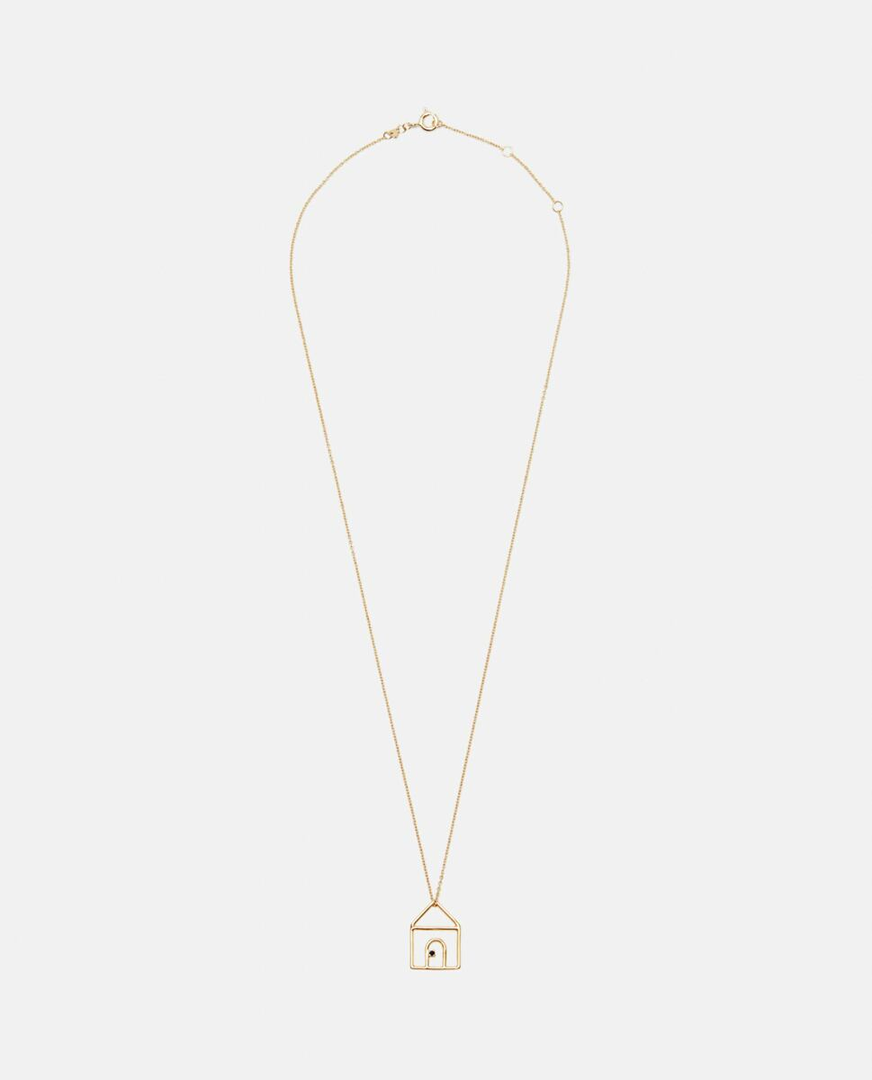 Aliita Gold Casita necklace with pendant in 9kt yellow gold and sapphires Biffi USA WOMEN