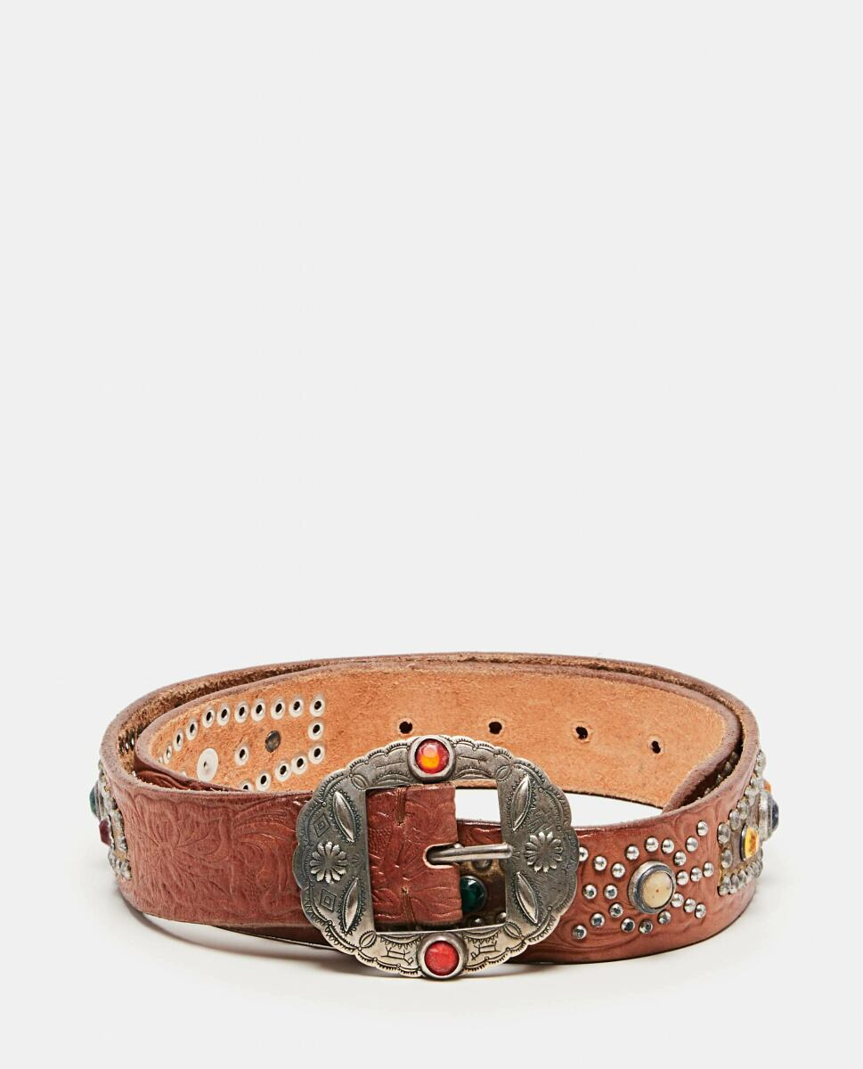 Golden Goose Brown Texas Rodeo belt with studs and crystals Biffi USA WOMEN