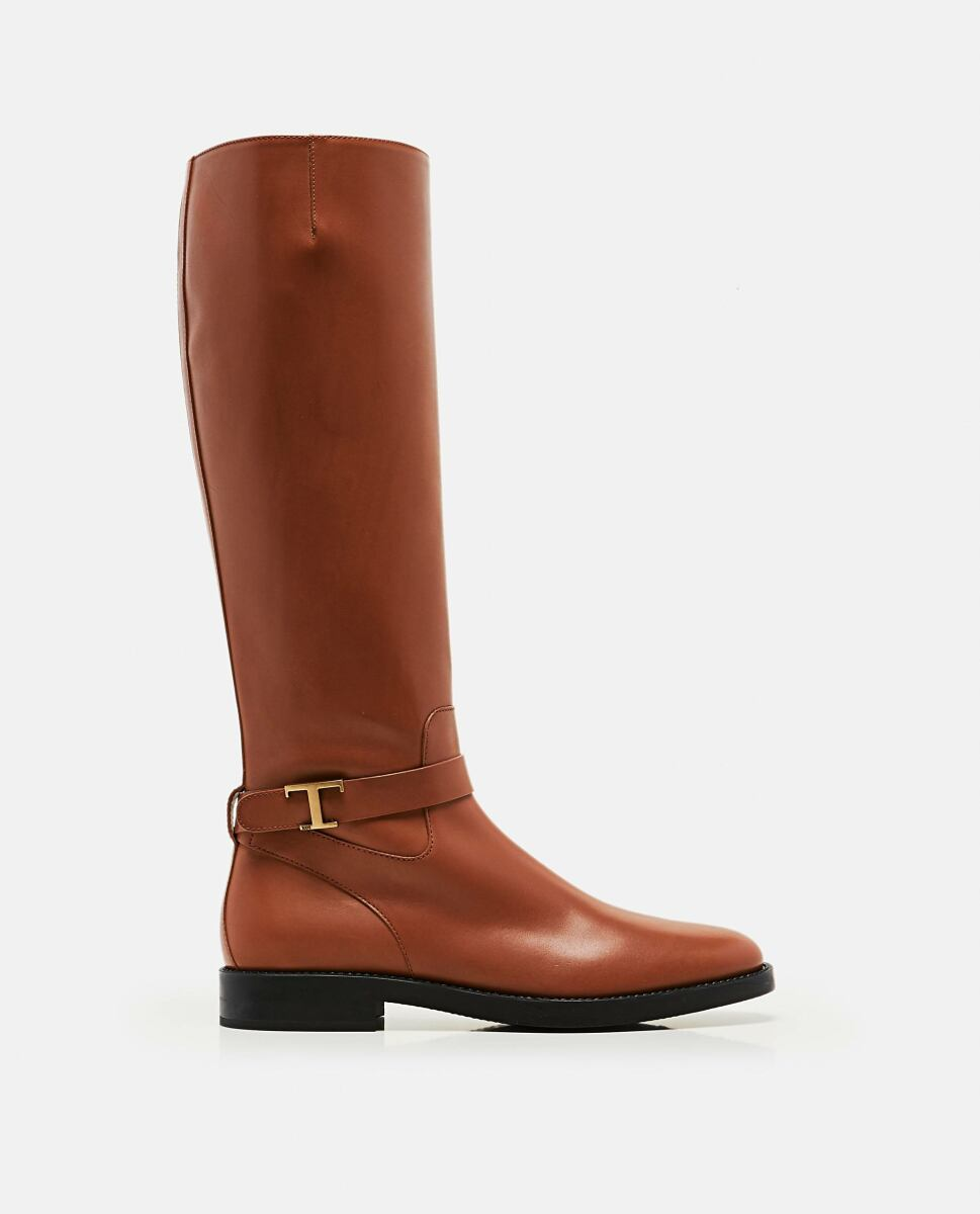 Tod's Brown Boots with logo plaque Biffi USA WOMEN