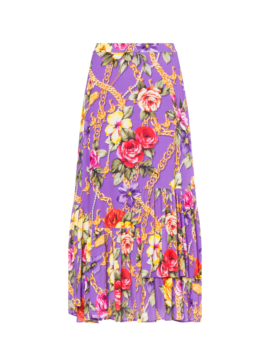 Boutique Moschino Women's Flowers And Chains Georgette Purple WOMEN Women FASHION Womens SKIRTS