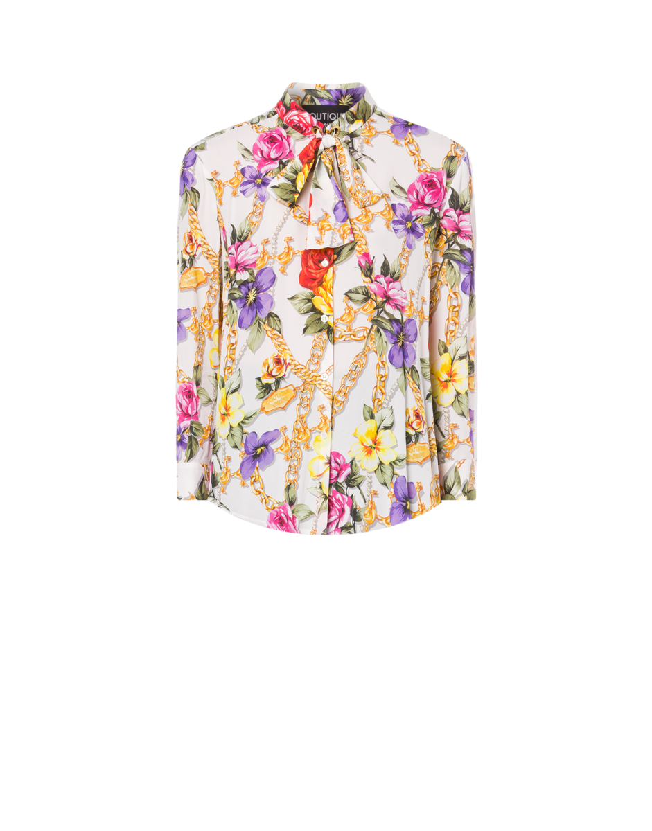 Boutique Moschino Women's Flowers And Chains Georgette White WOMEN Women FASHION Womens SHIRTS