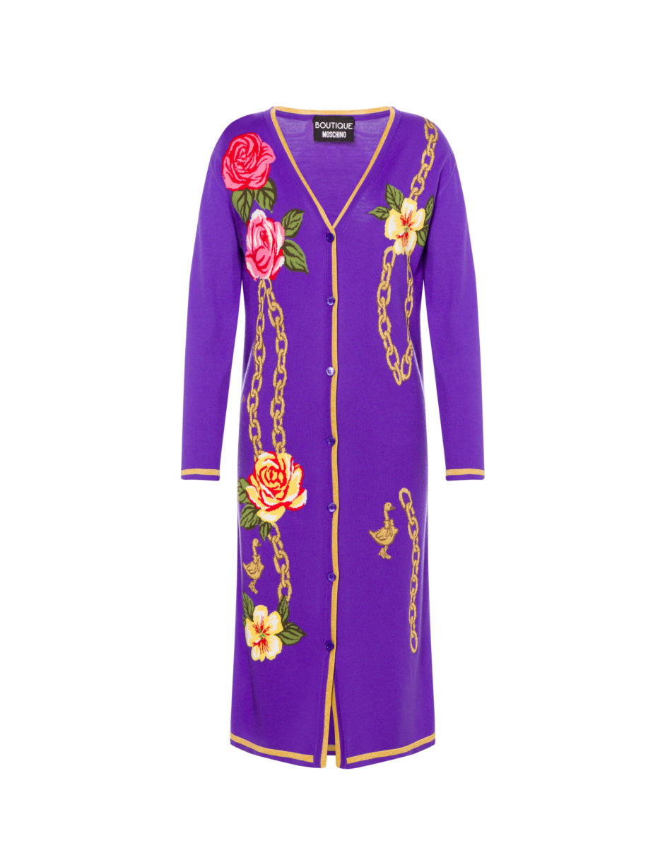 Boutique Moschino Women's Flowers And Chains Wool Purple WOMEN Women FASHION Womens DRESSES