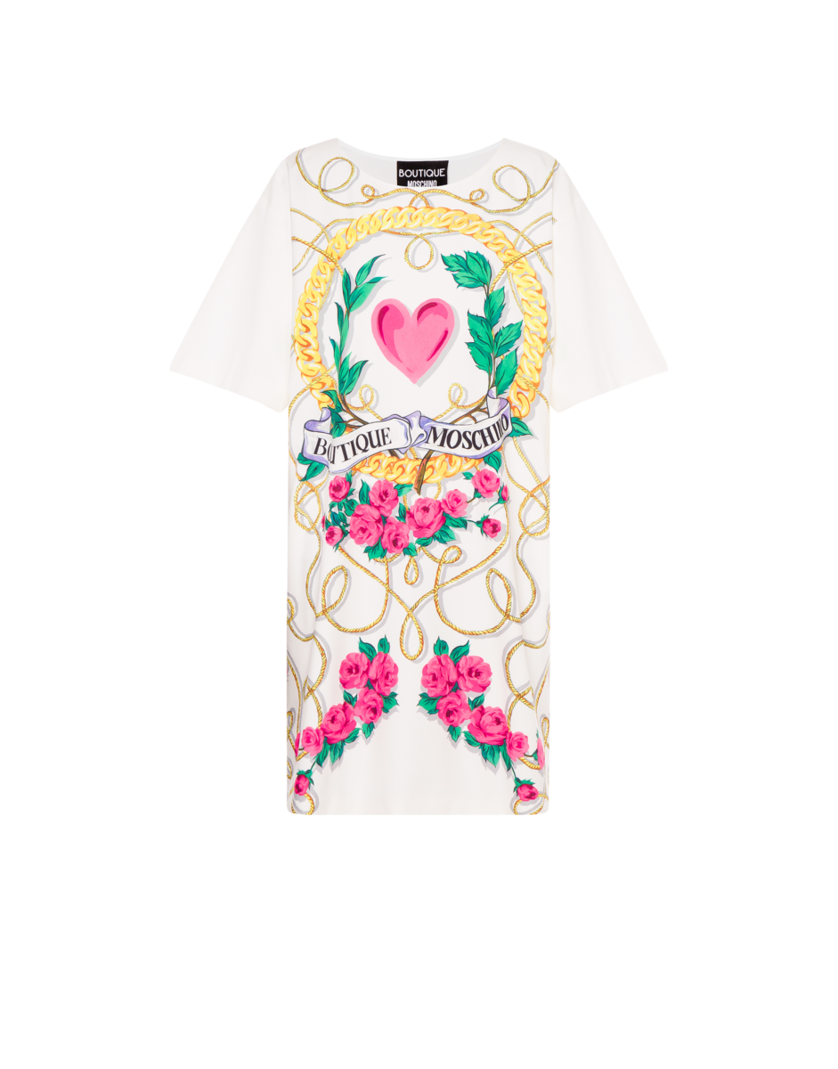 Boutique Moschino Women's Heart And Chains Crepe White WOMEN Women FASHION Womens DRESSES