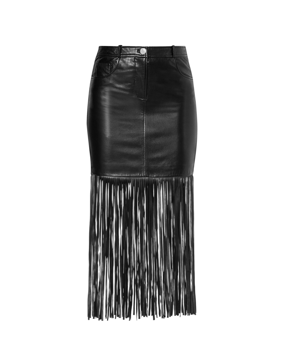 Boutique Moschino Women's Mini Skirt With Fringes Black WOMEN Women FASHION Womens SKIRTS
