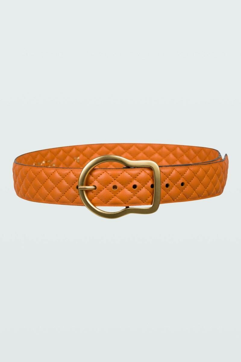 Dorothee Schumacher Women's Orange Sensation Quilted Belt 4Cm 105 WOMEN Women ACCESSORIES Womens BELTS