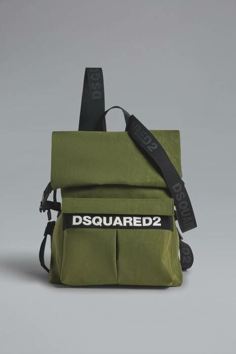 Dsquared2 USA Man Backpack Military Green 91% Polyester 7% Polyurethane 2% Bovine Leather MEN Men ACCESSORIES Mens BAGS