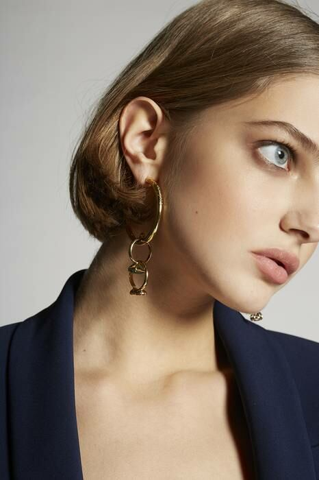Dsquared2 USA Woman Earrings Gold 70% Tin 24% Brass 5% Clear Crystal 1% Silver WOMEN Women ACCESSORIES Womens JEWELRY