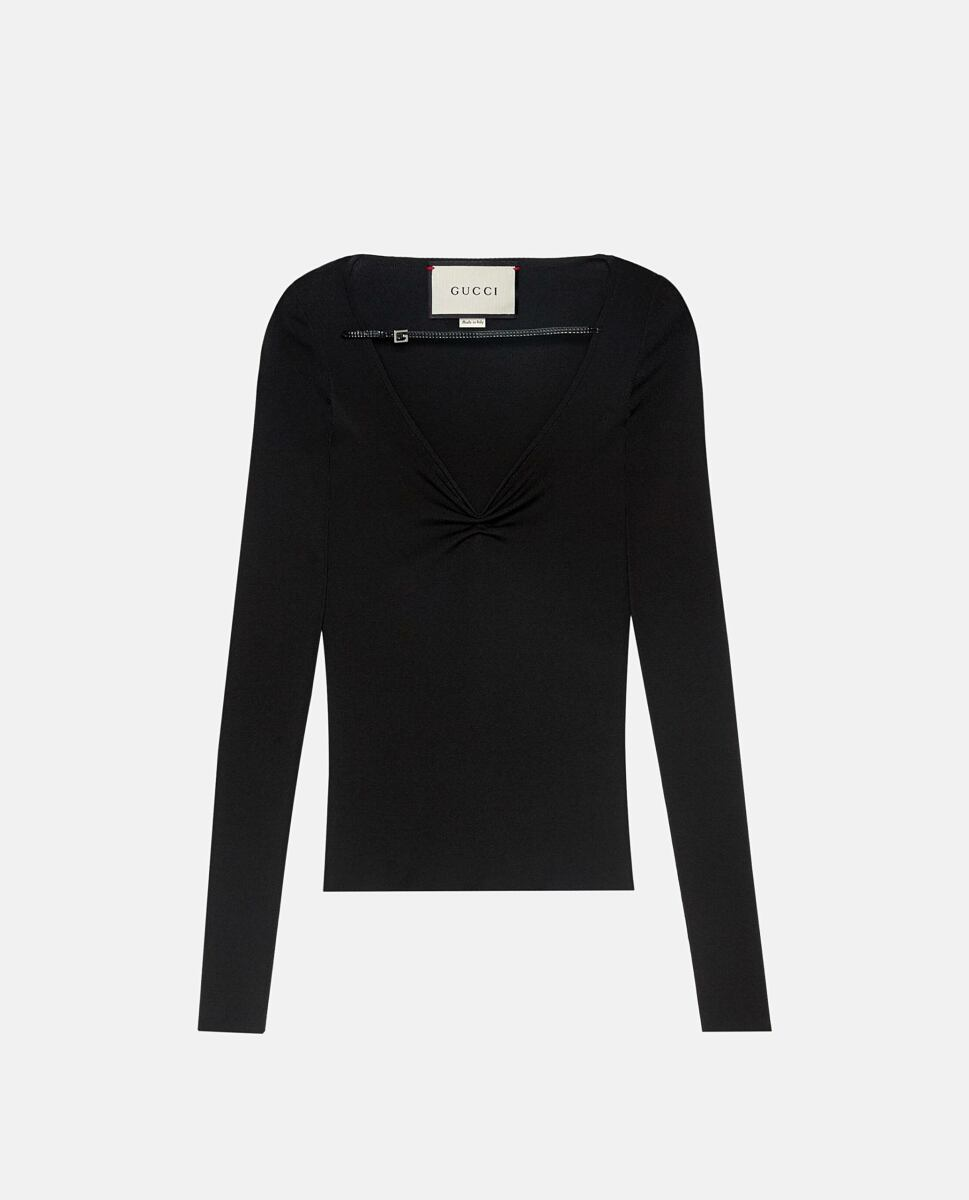 Gucci Leather-trimmed ruched top Black Biffi UK WOMEN