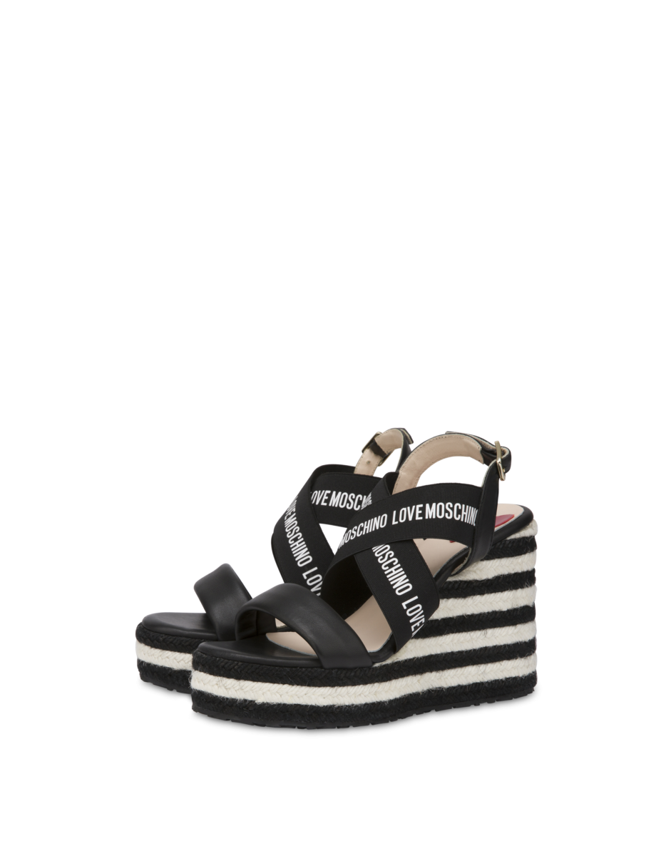 Love Moschino Women's Elastic Band Wedge Sandals Black WOMEN Women SHOES Womens SANDALS