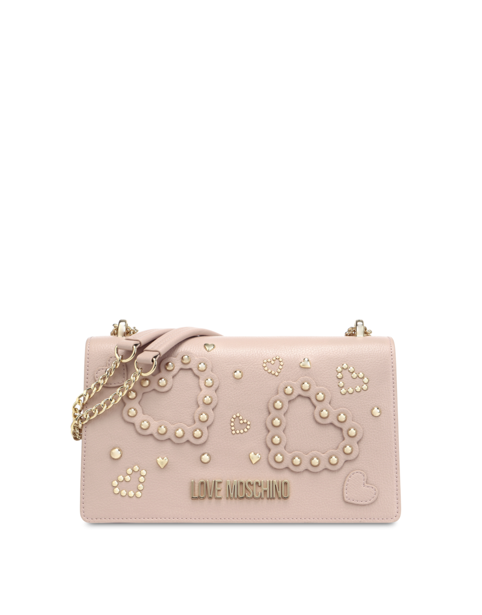 Love Moschino Women's Shoulder Bag With Hearts Pink WOMEN Women ACCESSORIES Womens BAGS