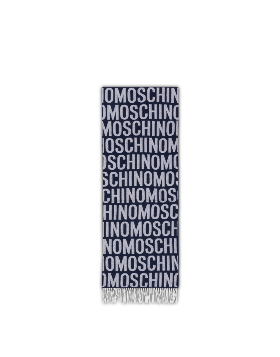 Moschino Men's All Over Logo Wool Blue MEN Men ACCESSORIES Mens SCARFS