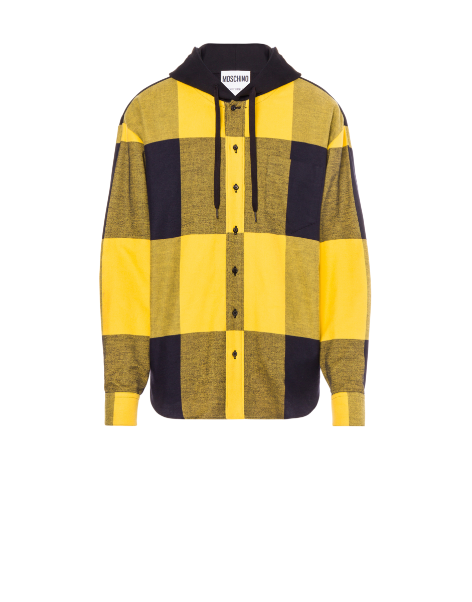 Moschino Men's Buffalo Check Flannel Shirt Yellow MEN Men FASHION Mens SHIRTS