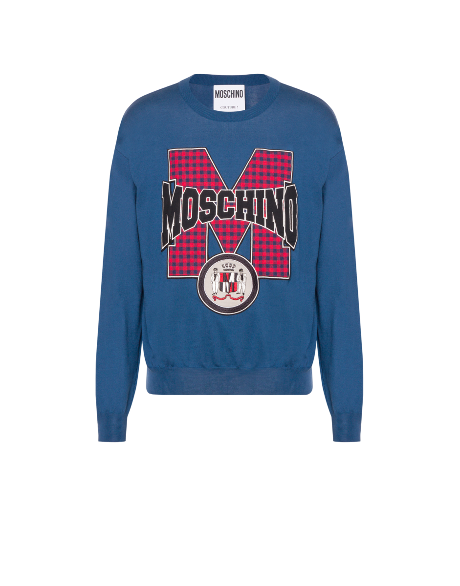 Moschino Men's Cotton Pullover With Patch Blue MEN Men FASHION Mens SWEATERS