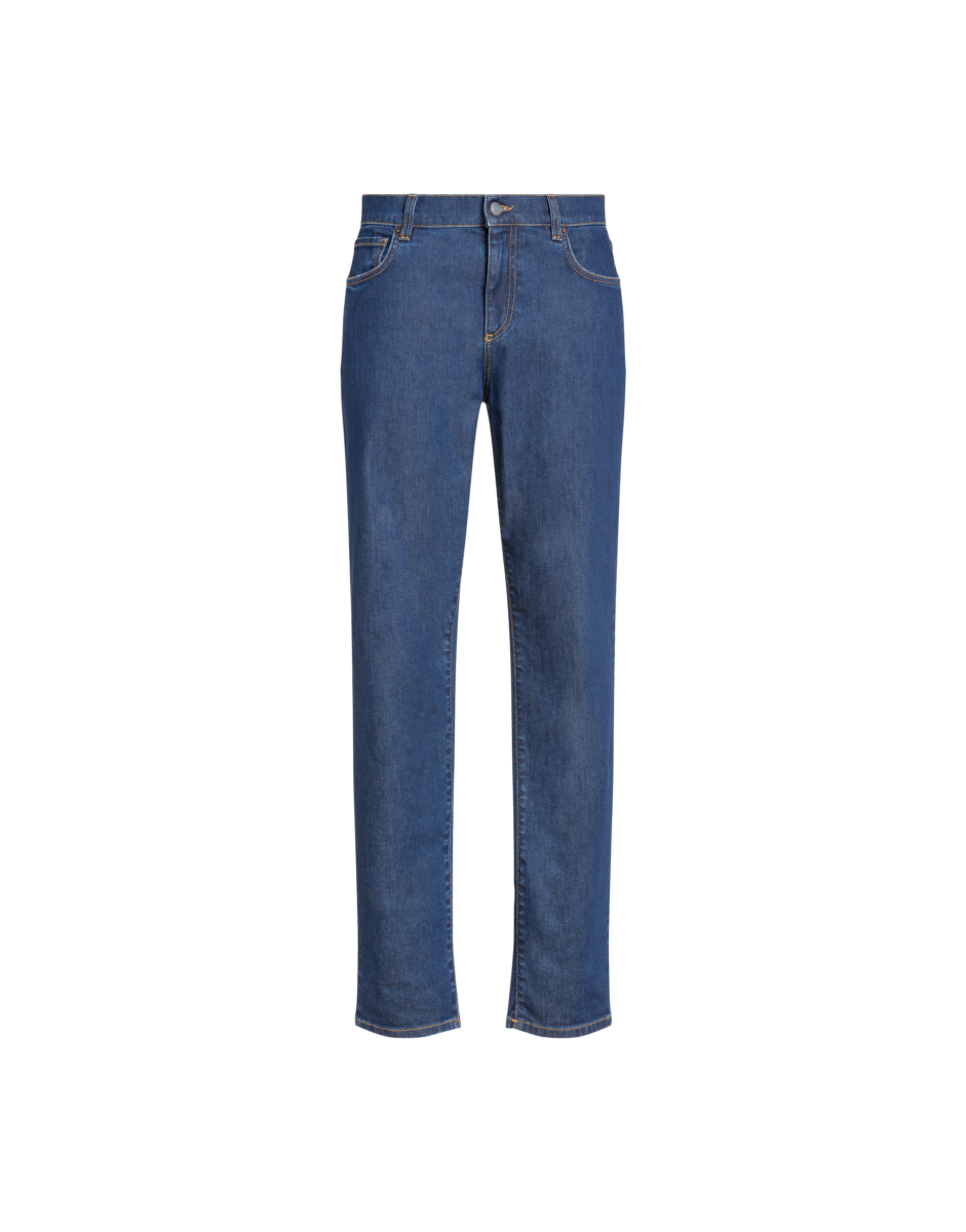 Moschino Men's Denim Trousers With Double Blue MEN Men FASHION Mens TROUSERS