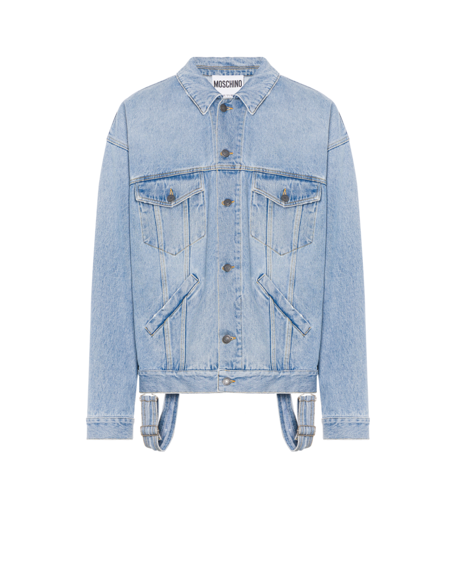 Moschino Men's Dungaree Detail Denim Jacket Blue MEN Men FASHION Mens JACKETS
