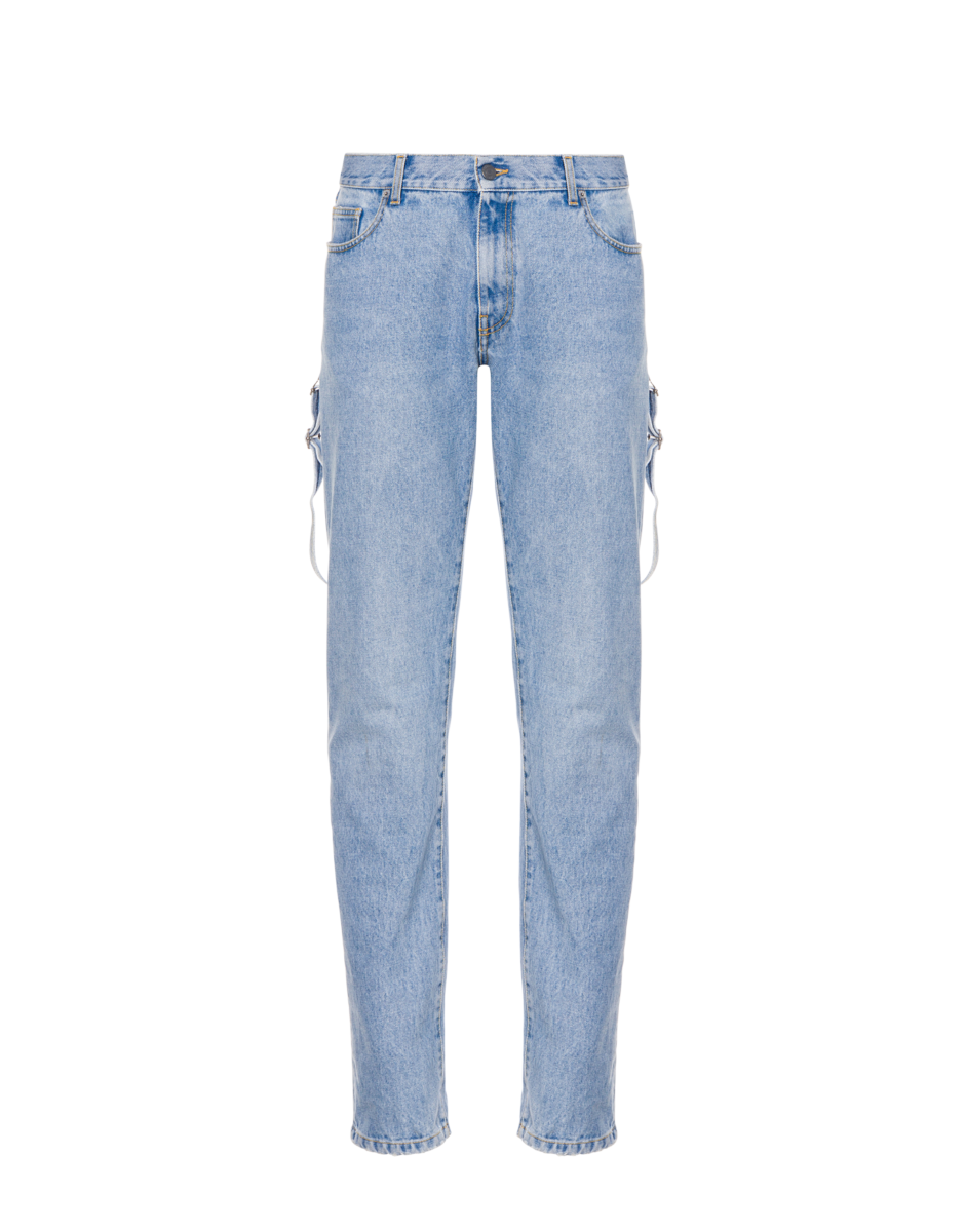 Moschino Men's Dungaree Detail Denim Trousers Blue MEN Men FASHION Mens TROUSERS