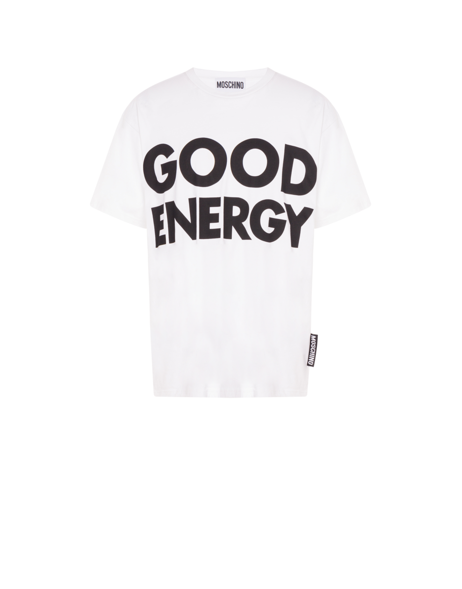 Moschino Men's Good Energy Jersey Shirt White MEN Men FASHION Mens SHIRTS