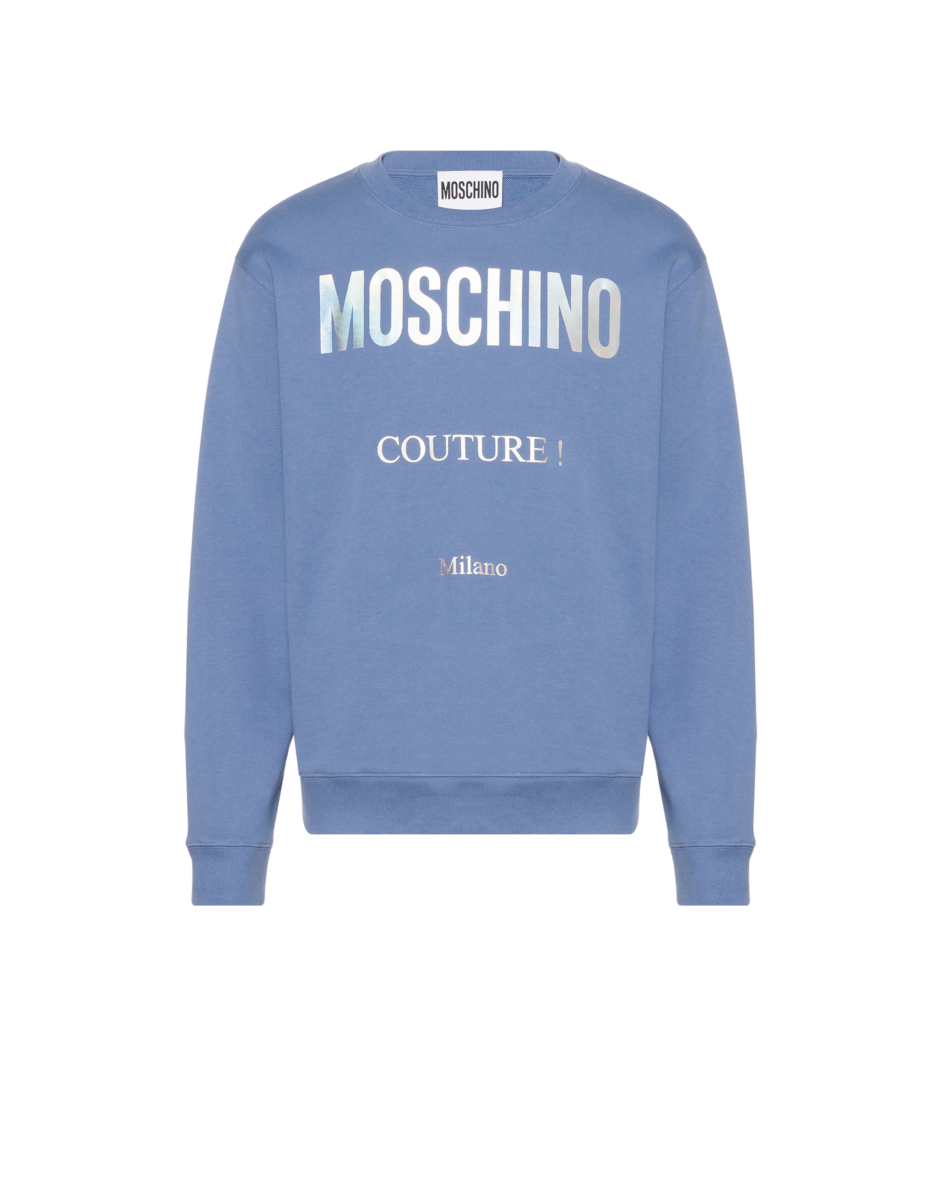 Moschino Men's Holographic Logo Cotton Sweatshirt Blue MEN Men FASHION Mens SWEATERS