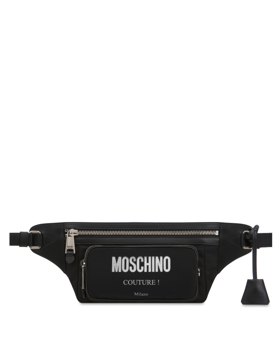 Moschino Men's Laminated Logo Waist Bag Black MEN Men ACCESSORIES Mens BAGS
