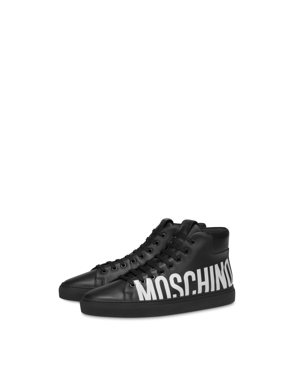 Moschino Men's Leather High Sneakers With Black MEN Men SHOES Mens SNEAKER
