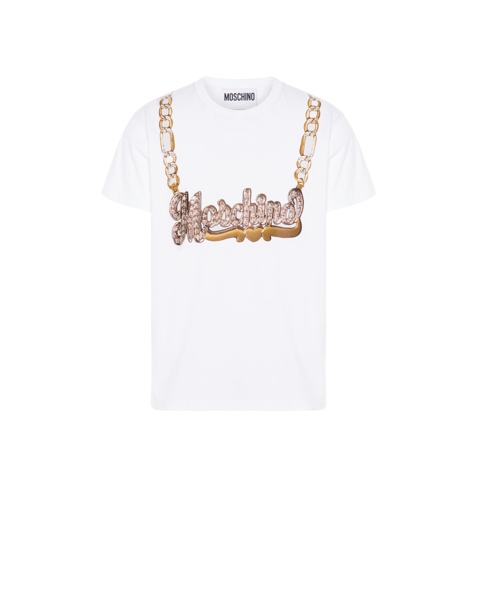 Moschino Men's Macro Necklace Jersey T-Shirt White MEN Men FASHION Mens T-SHIRTS