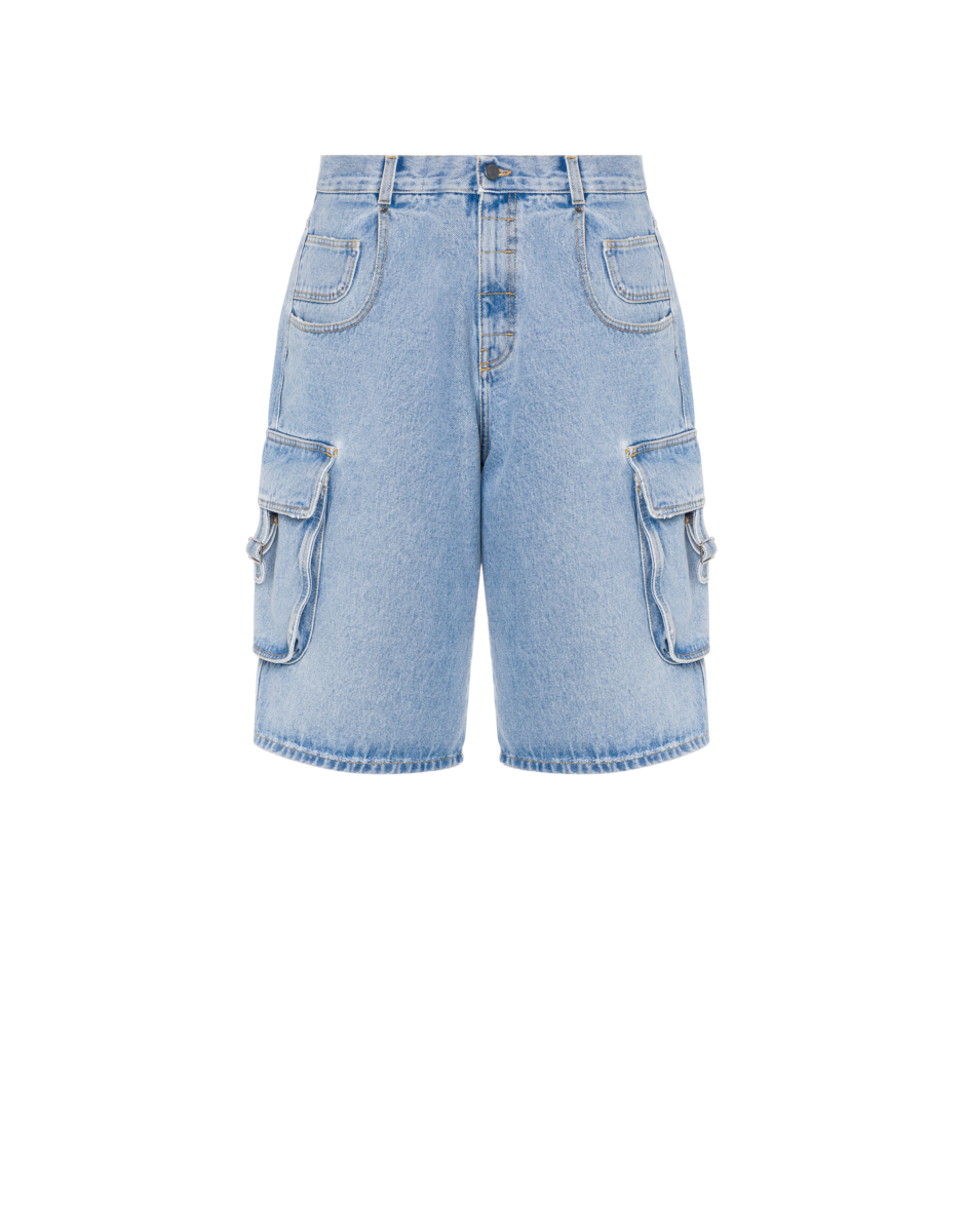 Moschino Men's Military Denim Bermuda Shorts Blue MEN Men FASHION Mens SHORTS