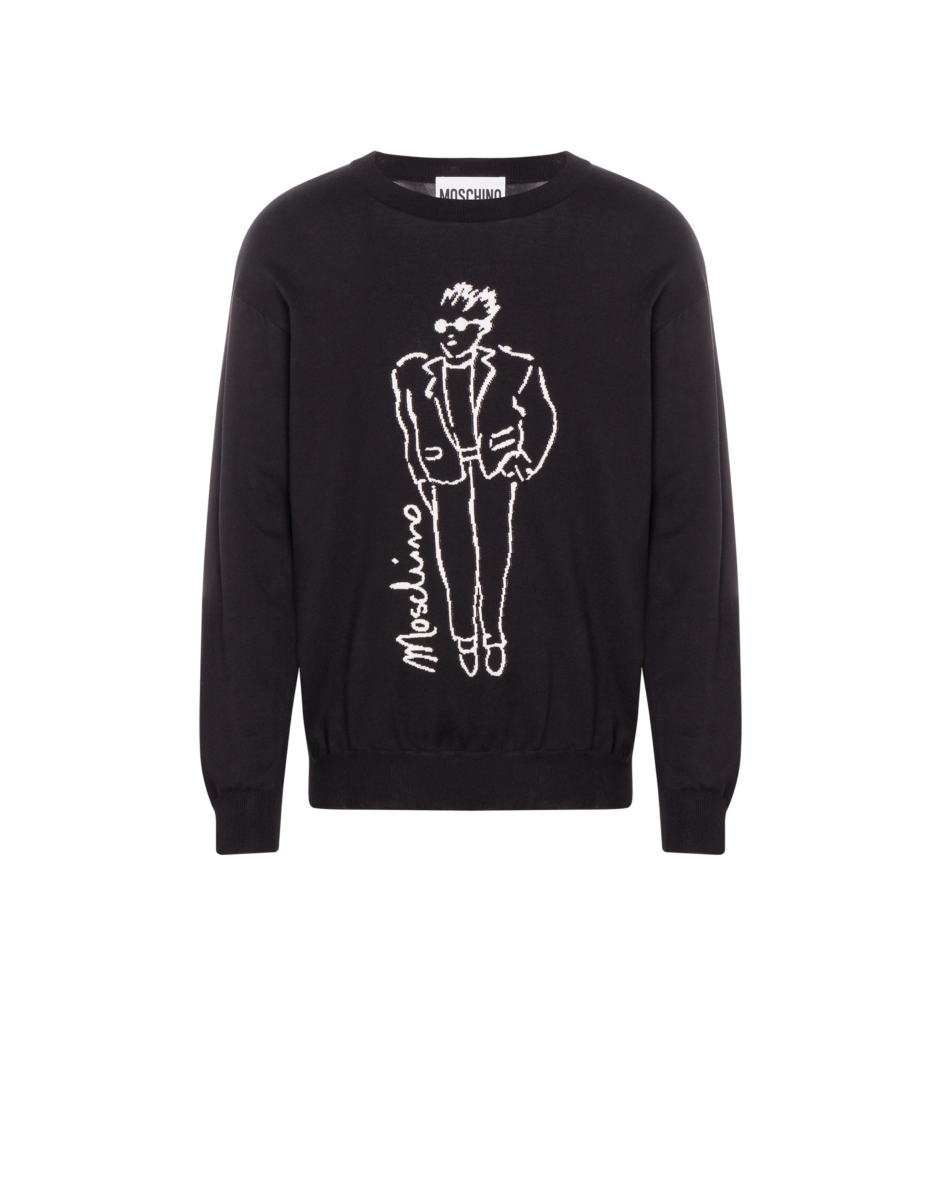Moschino Men's Moschino Characters Cotton Pullover Black MEN Men FASHION Mens SWEATERS
