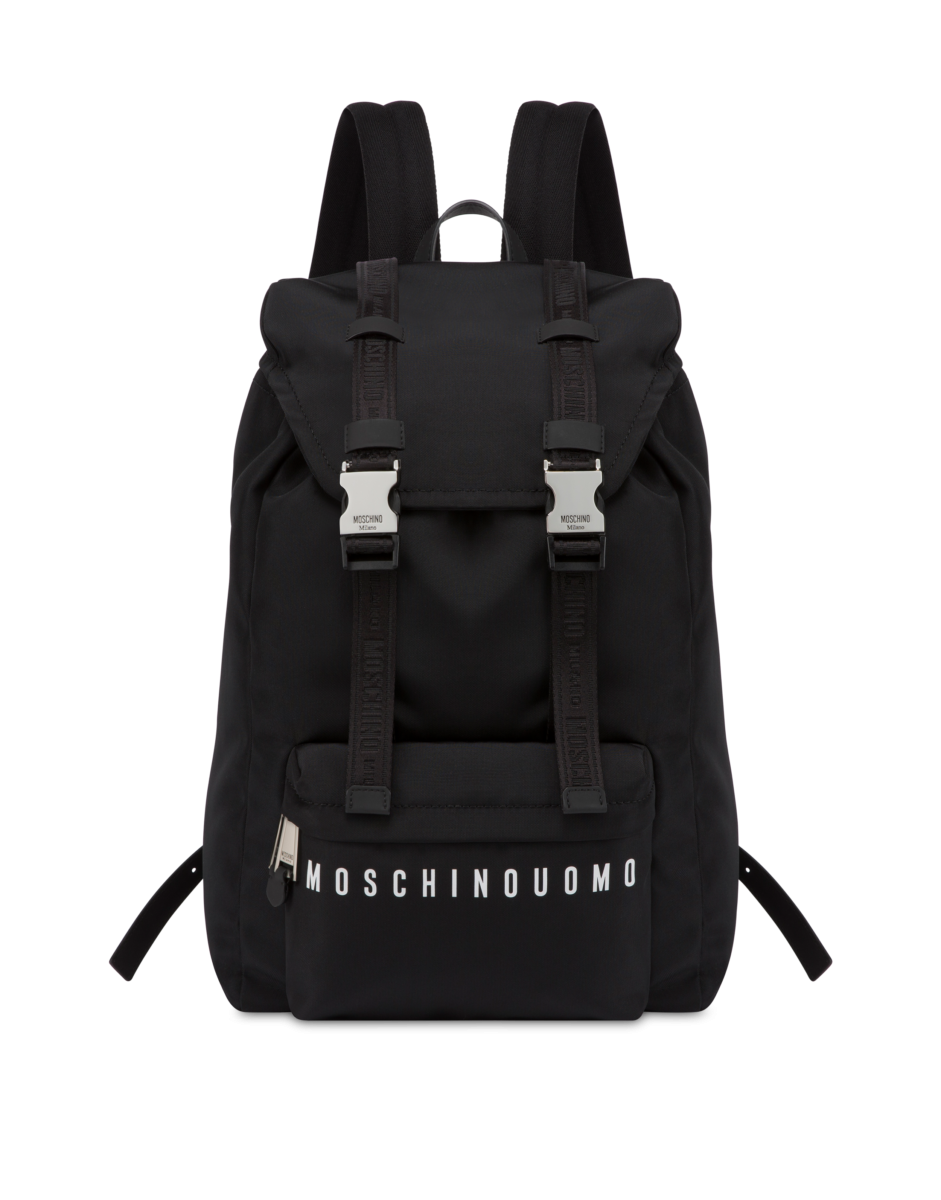 Moschino Men's Moschino Uomo Nylon Backpack Black MEN Men ACCESSORIES Mens BAGS