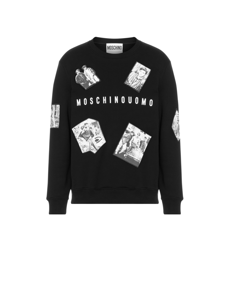 Moschino Men's Photographic Characters Cotton Sweatshirt Black MEN Men FASHION Mens SWEATERS