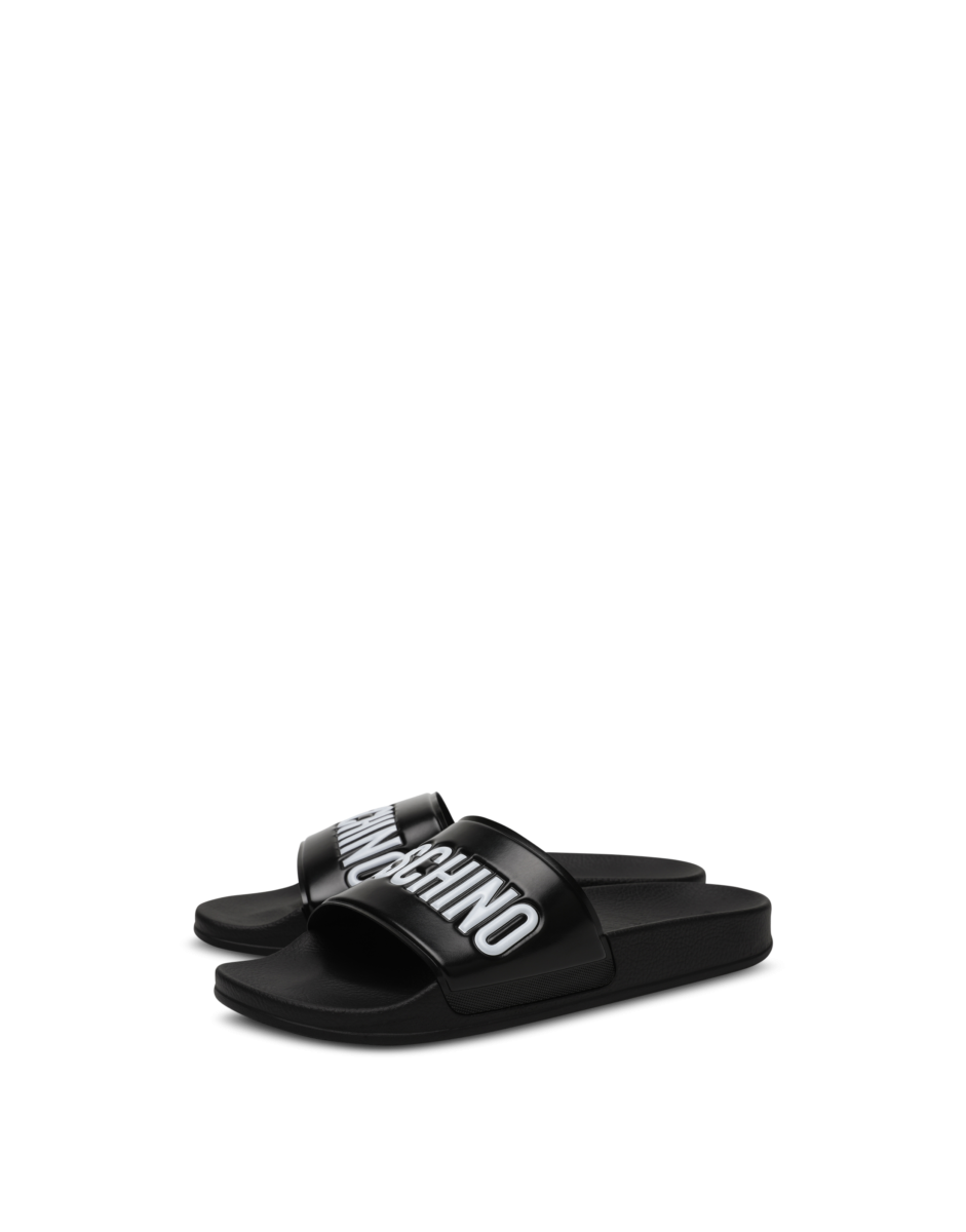 Moschino Men's Pvc Pool Slides With Black MEN Men SHOES Mens SLIPPERS