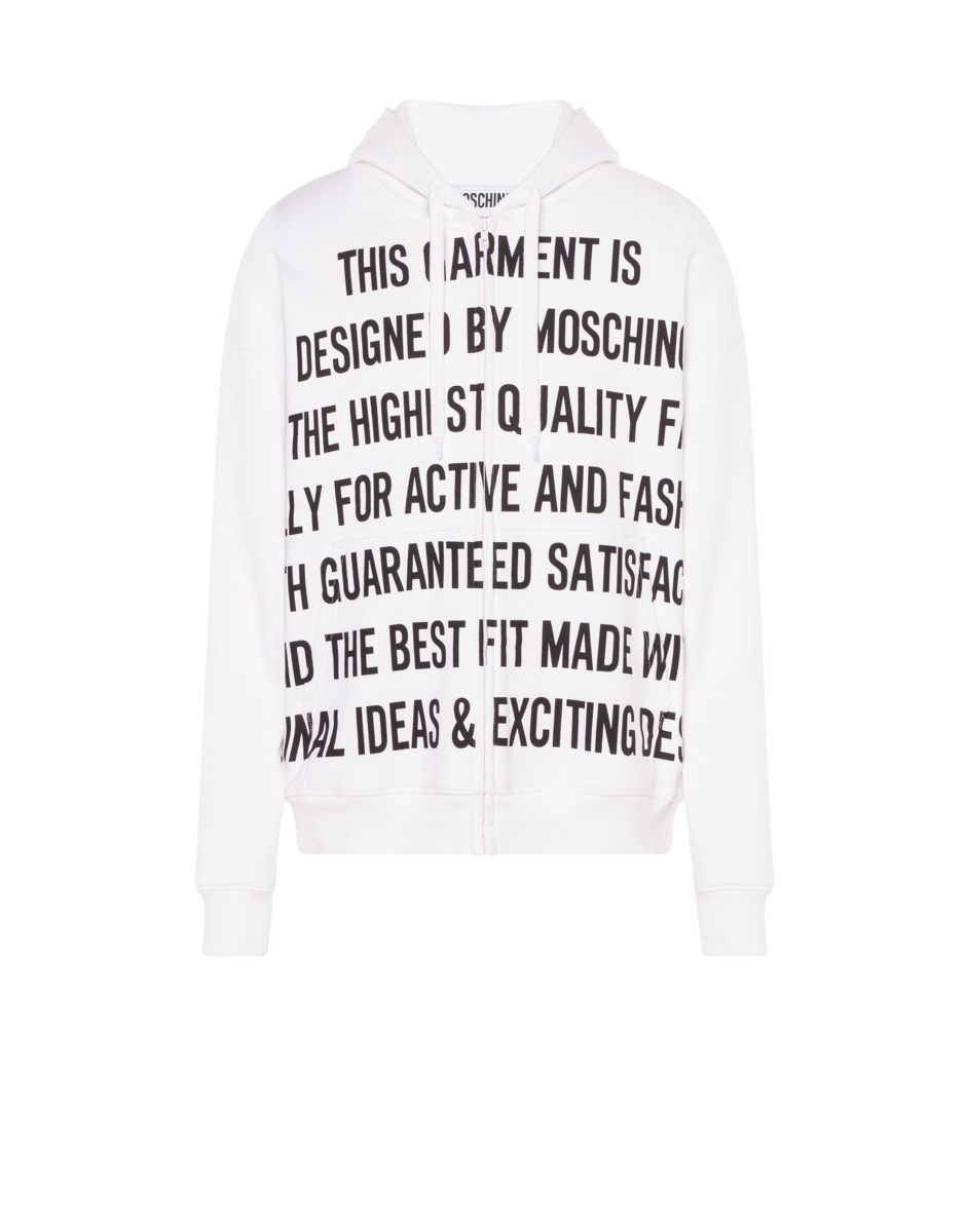 Moschino Men's Slogan Print Cotton Sweatshirt White MEN Men FASHION Mens SWEATERS