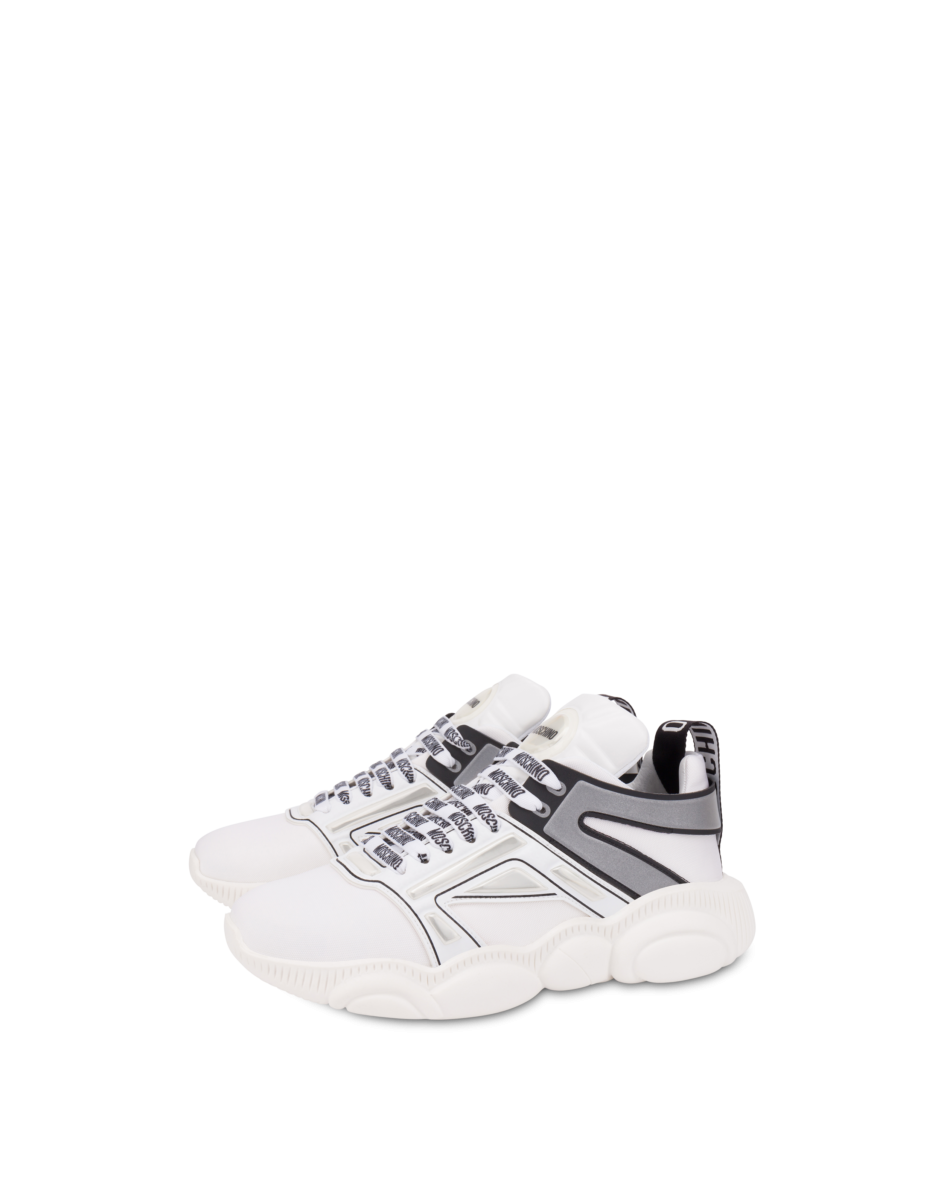 Moschino Men's Teddy Shoes Nylon Sneakers White MEN Men SHOES Mens SNEAKER